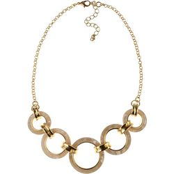 MAX STUDIO White Multi Ring Frontal Necklace