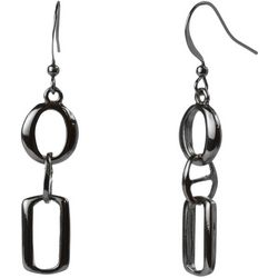 MAX STUDIO Silver Tone Open Link Drop Earrings