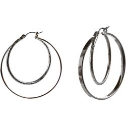 MAX STUDIO Silver Tone Double Row Hoop Earrings