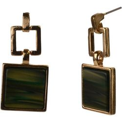 MAX STUDIO Green Resin Square Drop Earrings
