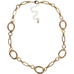 MAX STUDIO Gold Tone Oval Ring Link Necklace