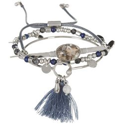 MAX STUDIO Blue Bead Bangle Slide Trio Bracelet Se