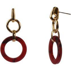 MAX STUDIO Red Resin Click It Hoop Earrings