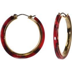 MAX STUDIO Red Resin Double Ring Drop Earrings