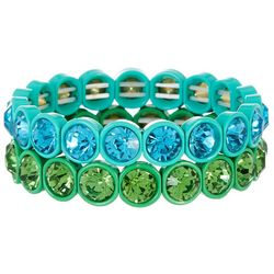 Bay Studio Turquoise & Green Faceted Stone Stretch Bracelets
