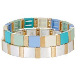 Bay Studio 2-pc. Square Bead Stretch Bracelet Set
