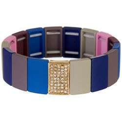 Bay Studio Blue Grey Pink Rectangle Stretch Bracelet