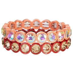 Bay Studio 2 Pc Coral Enamel & Stone Bracelet Set