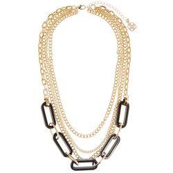 Daisy Fuentes Multi Row Chain & Black Link Necklac