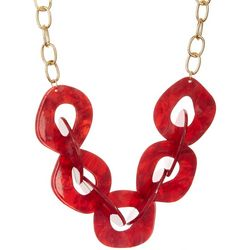Daisy Fuentes Red Resin Link Frontal Necklace