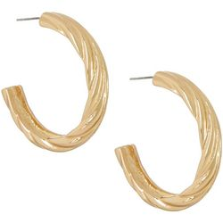 daisy fuentes Gold Tone Wide Textured Hoop Earring