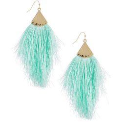 daisy fuentes Mint Fringe Statement Earrings