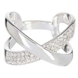 Bay Studio Two Row CZ Crisscross Ring