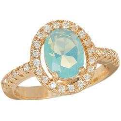 Bay Studio Glass & CZ Halo Gold Tone Ring