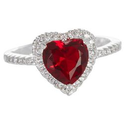 Bay Studio Red Siam & CZ Heart Halo Ring