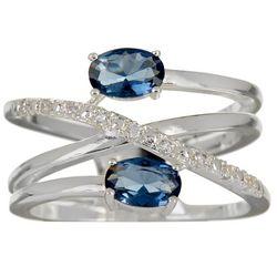 Bay Studio Blue & Clear CZ Criss Cross Band Ring