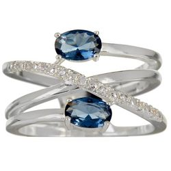 Bay Studio Blue & Clear CZ Criss Cross Band Ring