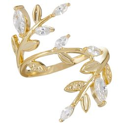 Bay Studio Gold Tone CZ Leaf Wrap Ring