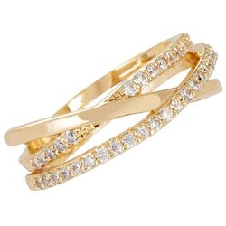 Bay Studio Gold Tone Crystal Criss Cross Band