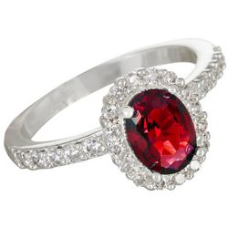 Bay Studio Red Siam Halo Crystal Ring