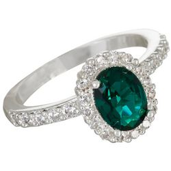 Bay Studio Emerald Green Crystal Halo Ring