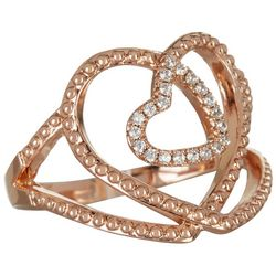 Rose Tone Double CZ Open Heart Ring