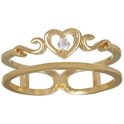 Bay Studio Gold Plated Double Row CZ Heart Ring