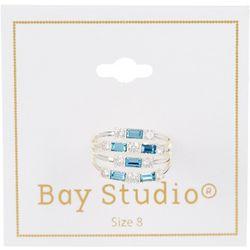 Bay Studio Silver Tone Four Row Aqua Rhinestone  Ring