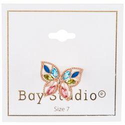 Bay Studio Gold Tone Colorful Rhinestone Butterfly Ring