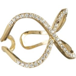 City by City Rhinestone X Shape Open Band Ring