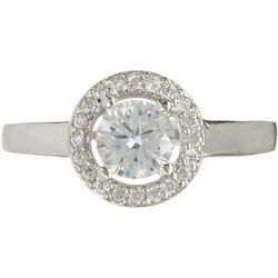 Clear CZ Halo Silver Tone Ring