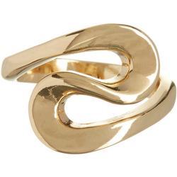 Polished Gold Tone Swirl Ring