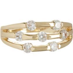 Gold Tone 3 Row Rhinestone Ring