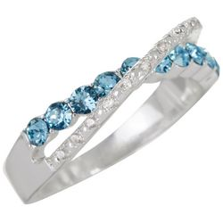 Bay Studio Blue & Clear Pave Stones Silver Tone Ring