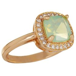 City by City Light Green Cushion Cut Stone Gold Tone Ring