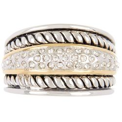 Two Tone Pave Textured Band Ring