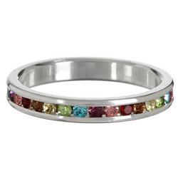 Multi Colored CZ Silver Tone Ring