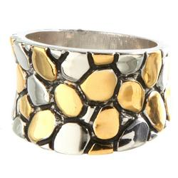 Wide Pebble Two Tone Ring