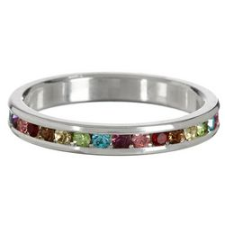 Multi Colored CZ Silver Tone Ring