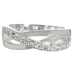 Pave Wave Silver Tone Ring