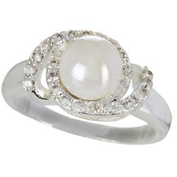 City by City Faux Pearl & Rhinestone Ring