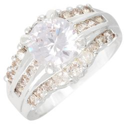 Cubic Zirconia Triple Row Wedge Set Ring