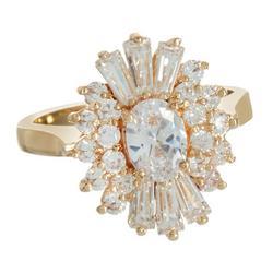 Gold Tone Starburst Rhinestone Ring