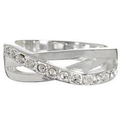 Bay Studio Pave Wave Silver Tone Ring