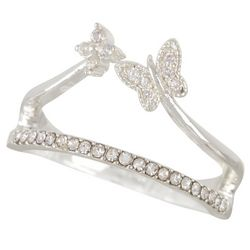 Bay Studio Silver Tone Crystal Butterfly Ring