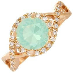 Bay Studio Round Crystal Opal Halo Twist Ring