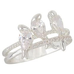 Bay Studio Crystal Bird Trio Silver Tone Ring