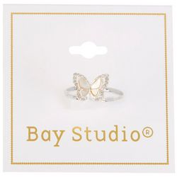 Bay Studio Silver Tone Mother Of Pearl Butterfly Ring