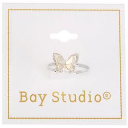 Silver Tone Mother Of Pearl Butterfly Ring