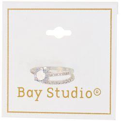 Bay Studio Silver Tone Two Row Rhinestone Ring